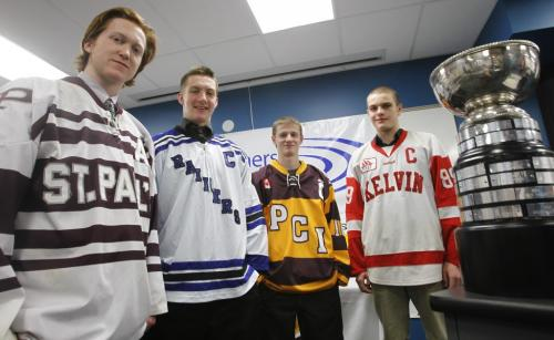 """At the news conference Tuesday for the upcoming Milk """"AAAA"""" Provincial High School Hockey Championship that begins March 9th are players from left representing their teams Colby Ferbers with the St. Paul's High School Crusaders, Corey Yeroschak with the Oak Park Raiders, Gavin Neufeld Portage Collegiate Trojans and Scott Douglas with the Kelvin Clippers. Reps of the Crocus Plains Plainsman were not in attendance and the Kelvin Clippers and the Portage Collegiate Trojans will play a game Wednesday with the winner to gain a wildcard entry.     (WAYNE GLOWACKI/WINNIPEG FREE PRESS) Winnipeg Free Press  March 6 2012"""