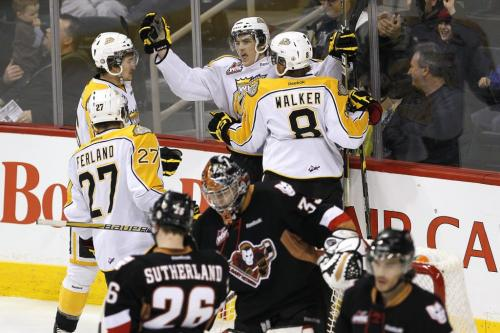 March 27, 2012 - 120327  -  Brandon Wheat Kings' Ryan Pulock (2), Mark Stone (16), Michael Ferland (27) and Brendan Walker (8) celebrate Pulock's goal against the Calgary Hitmen in the first period of their WHL playoff game in Winnipeg Tuesday March 27, 2012.    John Woods / Winnipeg Free Press