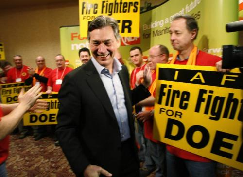 John Woods / Winnipeg Free Press / February  3 2007 - 070203  - Gary Doer enters a convention room just prior to his speech at the provincial NDP convention at the Canad Inns Polo Park Saturday  Feb 3/07.