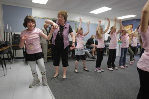 Olivia Steadman, left, is a 9 year old with cerebral palsy and Team Olivia are having a fundraiser. One of the things they are doing is dancing for 12 hours. April 5, 2012  BORIS MINKEVICH / WINNIPEG FREE PRESS