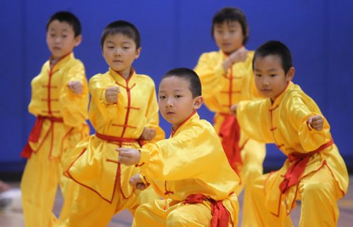 Brandon Sun Students from a local Kung Fu club give a quick demonstration for students from King George School during the school's cultural fair on Friday morning. (Bruce Bumstead/Brandon Sun)