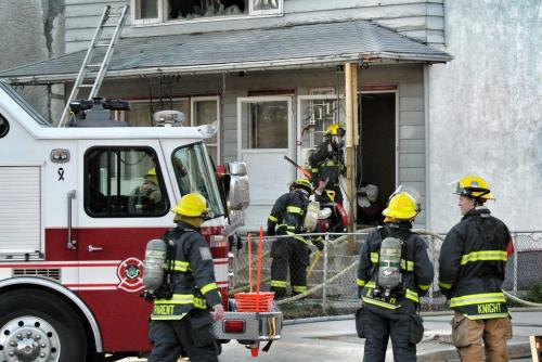 No injuries were reported after an early evening house fire in the top floor of a duplex at Boyd and Salter.  120425 April 25, 2012 Mike Deal / Winnipeg Free Press