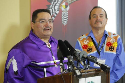Press conference for flood compensation cases , re: Fist Nations. Grand Chief Glenn Hudson, Peguis talks as Grand Chief Morris J. Shannacappo, Southern Chief Office stands in the background. May 1st, 2012  BORIS MINKEVICH / WINNIPEG FREE PRESS