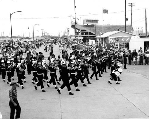 Winnipeg Free Press Archives July 3, 1961 Red River Exhibition Parade, marching bands.