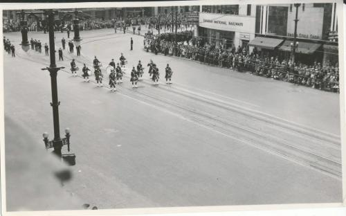 Winnipeg Free Press Archives Wartime Winnipeg (03) May 23, 1944 Army Parade on street car streetcar rails, Main Street heading north from Portage Avenue. fparchive