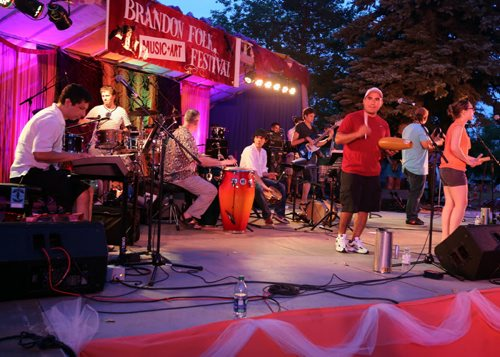 Brandon Sun Son Latino Band performs during the 28th annual Brandon Folk Music and Art festival's second day, Saturday evening. (Colin Corneau/Brandon Sun)