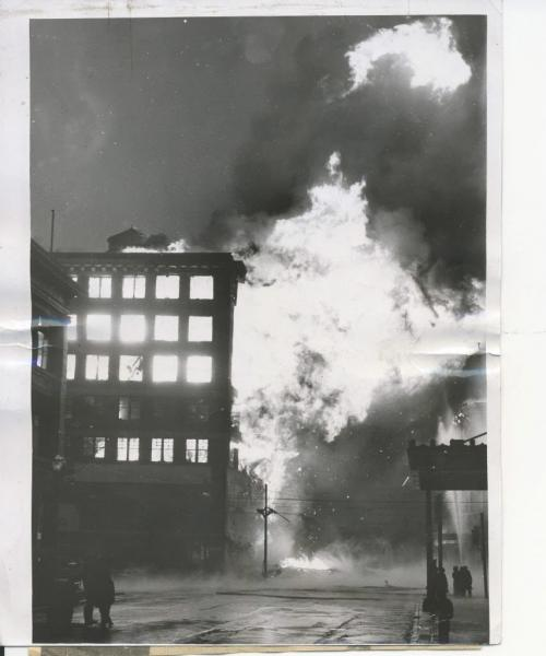 Winnipeg Free Press Archives Time Building Fire  (02) June 8, 1954 Firemen had arrived at 1 a.m., warned by an automatic alarm ... the fire, stubborn but confined for hours , fin- ally broke loose, fanned by the gale ...by 5 a.m. the Time building glowed with flame ... suddenly just after 6 a.m. the east wall fell spreading the fire to the Dismorr block across Hargrave street. . . within minutes the front wall of the Time building fell... by 8 a.m. the Dismorr building, too, was lost . . .   fparchive