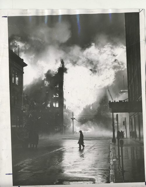 Winnipeg Free Press Archives Time Building Fire  (03) Firemen had arrived at 1 a.m., warned by an automatic alarm ... the fire, stubborn but confined for hours , fin- ally broke loose, fanned by the gale ...by 5 a.m. the Time building glowed with flame ... suddenly just after 6 a.m. the east wall fell spreading the fire to the Dismorr block across Hargrave street. . . within minutes the front wall of the Time building fell... by 8 a.m. the Dismorr building, too, was lost . . .  fparchive