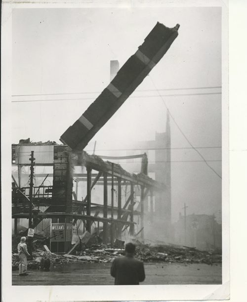 Winnipeg Free Press Archives Time Building Fire  (09) June 9, 1954 Demolition crews have begun tearing down the twisted skeleton of the seven-storey Time building destroyed in Tuesday's $3,- 000,000 holocaust. The towering 80- foot pillar of bricks and masonry at the Portage avenue and Hargrave street corner is the first to go. fparchive