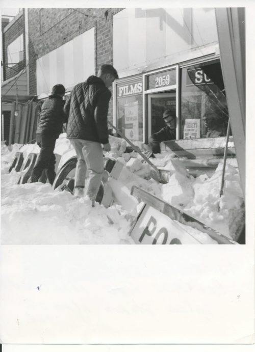 Winnipeg Free Press Archives Winnipeg Blizzard (6) March 7, 1966 Weight  too much for Portage Avenue marquee fparchive
