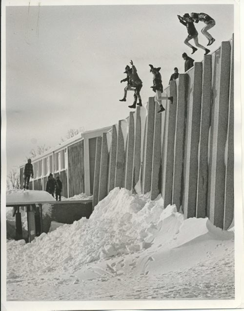 Jack Ablett/Winnipeg Free Press Archives Winnipeg Blizzard (6) March 7, 1966 The weekend snowstorm may have brought hardship to some Greater Winnipeg adults but for the younger set it meant fun and excitement. Here, a group of St. James youths use piled up mounds of snow as landing fields as they leap off the roof of Silver Heights United church. fparchive