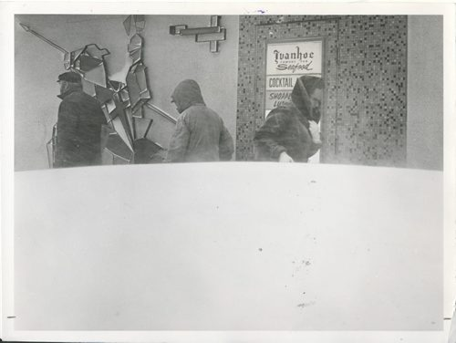 Jack Ablett/Winnipeg Free Press Archives Winnipeg Blizzard (9) March 5, 1966 Passersby are half hidden by a waist-high snowdrift. fparchive