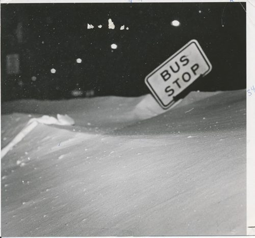 Jack Ablett/Winnipeg Free Press Archives Winnipeg Blizzard (12) March 5, 1966 Winnipeggers Take Crisis In Stride . .although the buses may have had to search for them . . fparchive
