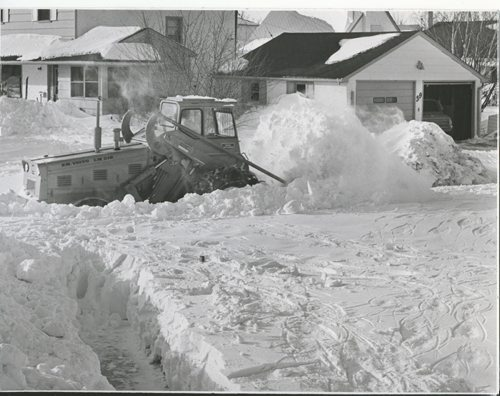 Jack Ablett/Winnipeg Free Press Archives Winnipeg Blizzard (19) March 7, 1966 March 4, 1966 - That Was  The Storm That Was Snow plow clears out Hind Avenue, St. James fparchive
