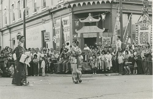 Dave Johnson / Winnipeg Free Press Archives The intersection of King Street and Pacific Avenue was closed off Wednesday evening for a Chinese play and kung fu demonstration. August 12, 1976