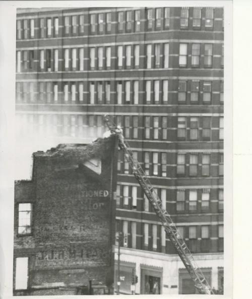 Winnipeg Free Press Archives Time Building Fire (20) June 9, 1954 Telephoto shot from FP building Litz up ladder fparchive
