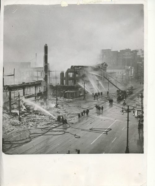 Winnipeg Free Press Archives Time Building Fire (21) June 1954 (no date) This picture was taken when fire in both Time & Dismorr buildings had nearly burned out.  Note sidewalk of Dismorr has fallen. wparchive