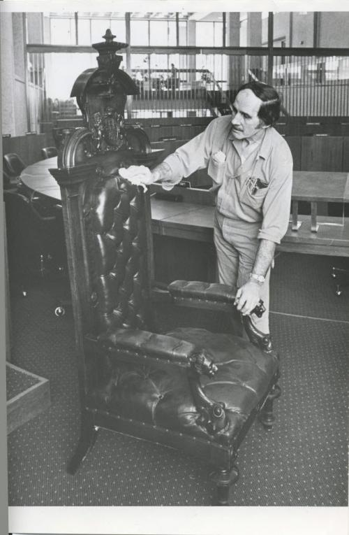 Gerry Cairns/Winnipeg Free Press Archives Winnipeg Old City Hall (1) Jan. 17, 1974 This chair, used by Mayor Francis Cornish of Winnipeg at the first city council meeting Jan. 19, 1874, is dusted off before reenactment Saturday noon of that historic first session. This time, Mayor Steve Juba of Winnipeg will occupy the chair and council chambers will be decorated to resemble Bentley's Store, site of the first council meeting 100 years ago. These events are planned as part of the celebration of Winnipeg's centennial. fparchive