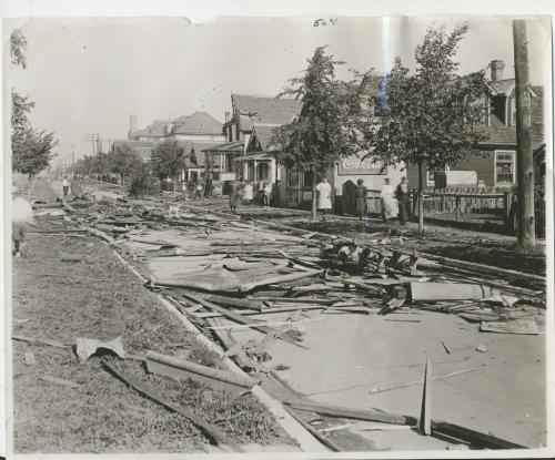 L.B. FOOTE Winnipeg Free Press Archives Winnipeg storm  (1) June 17, 1919 Winnipeg scenes following wind storm  Looking along Burrows avenue from Andrews street. Street strewn with debris from the .Strathcona School and wrecked houses. fparchive