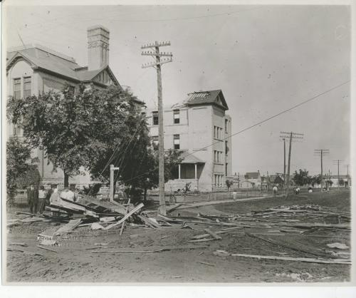 L.B. FOOTE/Winnipeg Free Press Archives  Winnipeg storm  (3) June 17, 1919 Winnipeg scenes following wind storm  STRATHCONA SCHOOL view One  of the buildings  which suffered severely in Saturday's storm fparchive