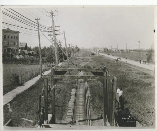 L.B. FOOTE/Winnipeg Free Press Archives Winnipeg storm  (5) June 17, 1919 Winnipeg scenes following wind storm  CLEAN SWEEP MADE OF WIRES LOOKING west from street railway Subway on Portage Avenue. All power, electrical poles and trolley wires down from Subway west to C.N.R.  tracks. fparchive