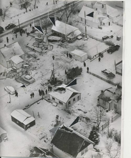 Bill Rose/Winnipeg Free Press Archives St. James-air-crash Feb. 18 1957 Aerial photo charts the path taken by the Mitchell Bomber which crashed in St. James Sunday night.