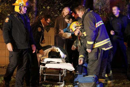 October 23, 2012 - 121023  -  Police and emergency personnel attend to a two vehicle collision on Academy at Wilton Tuesday October 23, 2012. Several people including children were taken to hospital. John Woods / Winnipeg Free Press