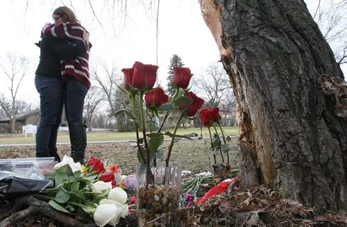 17 year old Kelvin High School student Julia Romanow was killed in a car crash Thursday afternoon on Wellington Crescent-  Here Kelvin High students hug after visiting crash scene Friday afternoon- See Kevin Rollason  story– Family Photo-November 02, 2012   (JOE BRYKSA / WINNIPEG FREE PRESS)