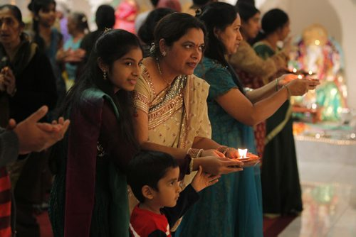 Diwali Puja event tonight at the Hindu Temple on St. Annes Road. People dray to gods in the temple towards the end of the event.  November 13, 2012  BORIS MINKEVICH / WINNIPEG FREE PRESS