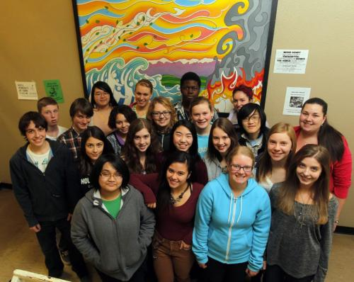 Kelvin Highschool students pose for a photo in the school. They are involved in the Asia Pacific program that will take kids to Japan. November 26, 2012  BORIS MINKEVICH / WINNIPEG FREE PRESS