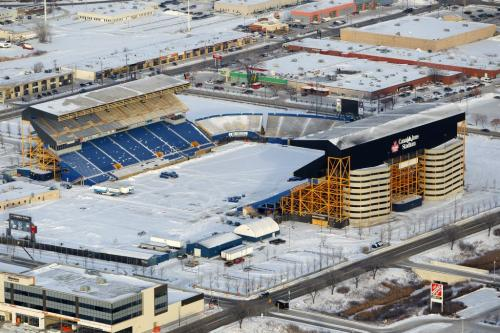 Aerial photos over Winnipeg. Old football stadium.Canad Inns Stadium (formerly Winnipeg Stadium) is a Canadian football stadium currently being demolished located north of Polo Park Shopping Centre(from wiki).  November 28, 2012  BORIS MINKEVICH / WINNIPEG FREE PRESS
