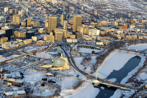 Aerial photos over Winnipeg. Skyline photo. Downtown Winnipeg. November 28, 2012  BORIS MINKEVICH / WINNIPEG FREE PRESS