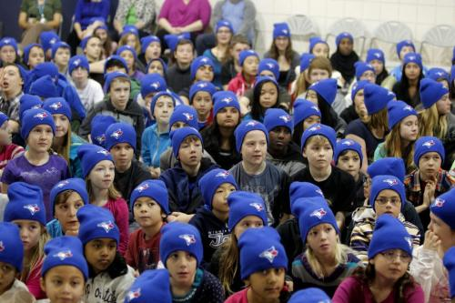 Ecole Van Walleghem School in Linden Woods were visited Toronto Blue Jays players this morning. The Blue Jays' winter caravan picked the school at random. In this photo the kids listen to the message. January 7, 2013  BORIS MINKEVICH / WINNIPEG FREE PRESS