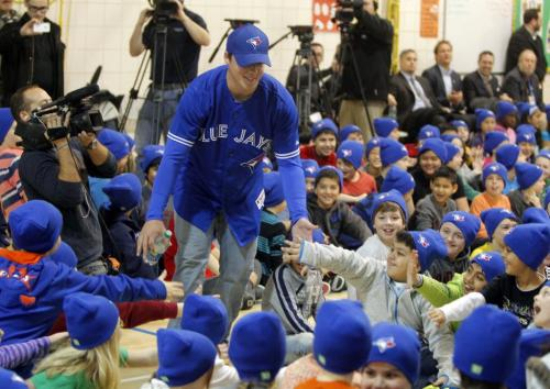 Ecole Van Walleghem School in Linden Woods were visited Toronto Blue Jays Aaron Loup this morning. The Blue Jays' winter caravan picked the school at random. January 7, 2013  BORIS MINKEVICH / WINNIPEG FREE PRESS