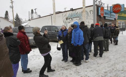 About 40 people were waiting outside the C. Kelekis Restaurant on Main St. for it to open a 11AM Tuesday. The restaurant will be closing Wednesday.  Randy Turner story   (WAYNE GLOWACKI/WINNIPEG FREE PRESS) Winnipeg Free Press  Jan. 29 2013