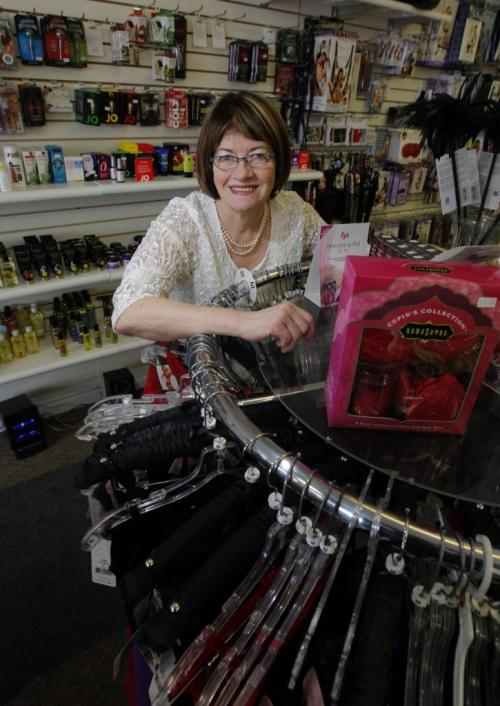 Linda Zuzanski for a Detour piece on the 30th anniversary of the Love Nest. Pics of owner Linda, 63, in and among her wares. January 30, 2013  BORIS MINKEVICH / WINNIPEG FREE PRESS