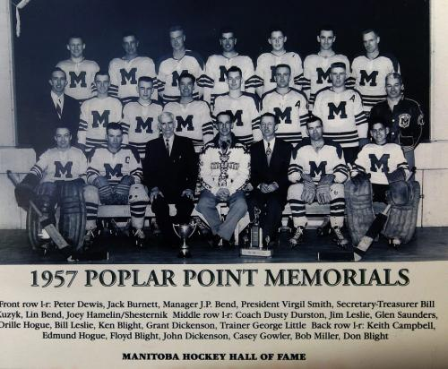 photo that is in the Manitoba Hockey Hall of Fame - Jp Bend Memorial Arena in Poplar Point , organizers are  preparing 100 Years of Hockey Celebration and fund raiser Feb 8 . - Bill Leslie  was a player on the 1956-57 Provincial Championship team , Perry Dickenson ' dad played on the same team  are helping to organized  fundraiser   event to support the arena & local  hockey history displays- ashley prest story -   KEN GIGLIOTTI / JAN. 31 2013 / WINNIPEG FREE PRESS