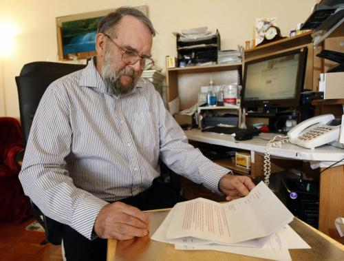 Disabled pensioner  says  Revenue Canada forced him to go bankrupt after  they failed to notice the names on T-4 slips were not his ,they also accused him of lying .In pic Michael Saunders with letters he sent to  Revenue Canada . - Mia Rabson story -  KEN GIGLIOTTI / FEB 7 2013 / WINNIPEG FREE PRESS