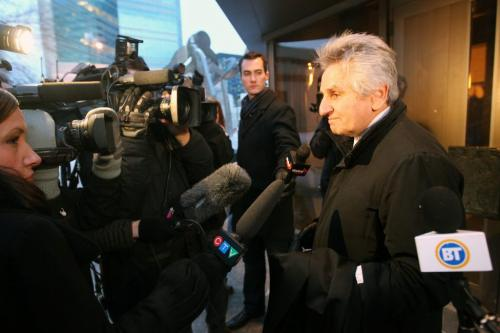 Not Guilty–Const. Darrel Selley and Const. Kristopher John Overwater were found not guilty tonight at the Manitoba Law Courts- Here Richard Wolson - lawyer for Const. Darrel Keith Selley comments to media outside of the courthouse Late Friday afternoon after verdict- See Kevin Rollason - February 07, 2013   (JOE BRYKSA / WINNIPEG FREE PRESS)