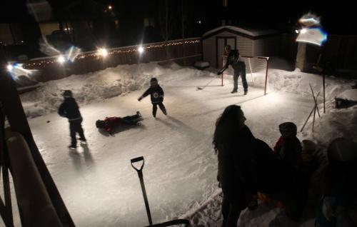 Outdoor family rink in Royalwood in Winnipeg family home of the McRae's–See Randy Turner story- February 08, 2013   (JOE BRYKSA / WINNIPEG FREE PRESS)