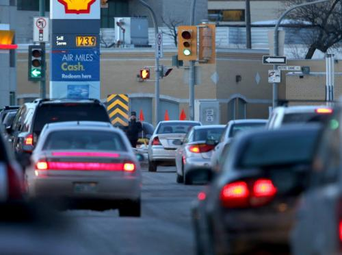 Gas price at Shell at the corner of Notre Dame Avenue and Sherbrook Street, Friday, March 1, 2013. (TREVOR HAGAN/WINNIPEG FREE PRESS)