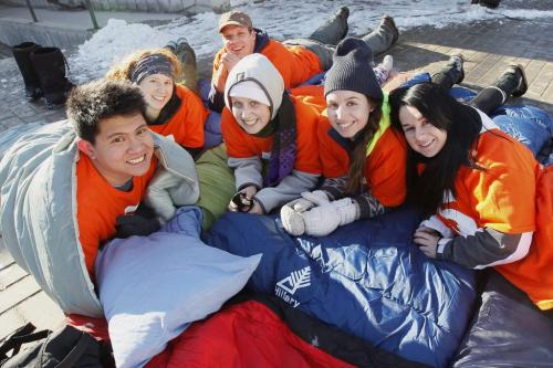 """March 10, 2013 - 130310  -  (L to R) Justin Monton, Janelle Remillard, Colin McDougall, Morgan Fisher, Emily Ashley and Khrystyna Prokopovych set up their sleeping bags at the start of The 5Days for the Homeless campaign which kicked off at the University of Manitoba Sunday, March 10th, 2013. From March 10-15, 2013, students will sleep outside for """"5 Days for the Homeless"""" - a campaign which aims to create awareness and raise funds for the homeless in communities across Canada. John Woods / Winnipeg Free Press"""