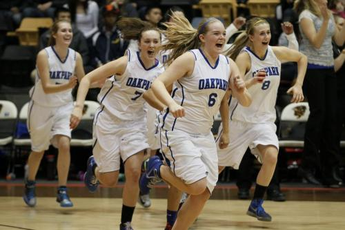 March 18, 2013 - 130318  -  Oak Park Raiders celebrate a defeating the Glen Lawn Lions in the AAAA Provincial Basketball Championship at the University of Manitoba Monday, March 18, 2013 - John Woods / Winnipeg Free Press