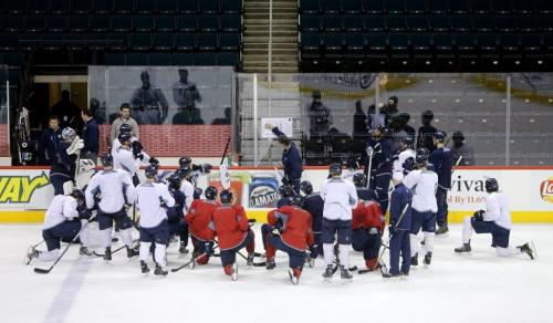 Winnipeg Jets' head coach Claude Noel leads the teams practice at MTS Centre. About 3000 fans from the ticket waiting list were invited to the special event, Sunday, April 14, 2013. (TREVOR HAGAN/WINNIPEG FREE PRESS)