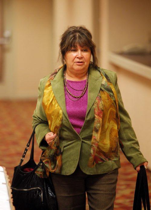 Former Children's Advocate Billie Schibler outside the Phoenix Sinclair inquiry. April 25, 2013  BORIS MINKEVICH / WINNIPEG FREE PRESS