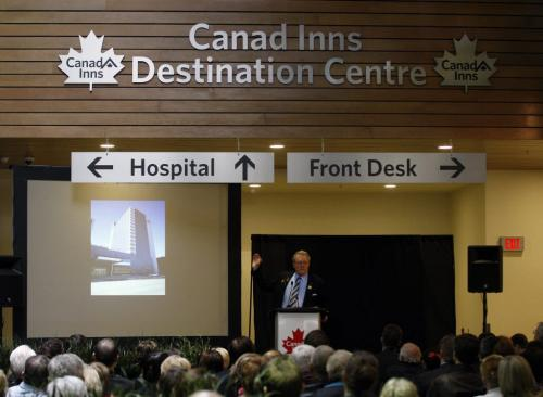 Canad Inns Pres. CEO Leo Ledohowski opens  new hotel-  Canad Inns Destination Centre Health Science Centre officially opens , it is connected to HSC and offers 191 rooms banquet room and conference centre , restaurants  ans a Starbucks  KEN GIGLIOTTI / April . 29 2013 / WINNIPEG FREE PRESS