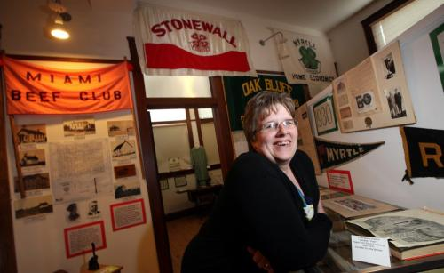 Home of 4H, 100th Anniversary. Head Leader of the Roland 4H Club Kyla Orchard poses in the 4H Museum. 4H originated in Roland, mb. See Bill Redekop story. April 30, 2013 - (Phil Hossack / Winnipeg Free Press)