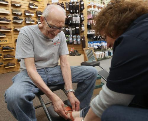 Len Harris is Winnipeg's oldest shoe salesman. Hell, he may be the world's oldest salesman. The Canadian Footwear clerk turns 90 this year. He's cut back his hours to just three days a week. –See Lindor Reynold's story- May 01, 2013   (JOE BRYKSA / WINNIPEG FREE PRESS)