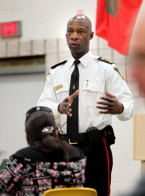 Winnipeg Police Chief Devon Clunis holding a public forum Tuesday.  - for Randy Turner story on Prince Albert crime program. May 7, 2013 - (Phil Hossack / Winnipeg Free Press)