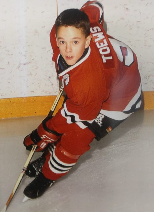Jonathan Toews in his  St Vital Victoarias  1998 AA 10 year old photo inside Dakota Community Centre- He spent hours posing for photos and meeting his local fans with the Staley Cup  – Standup photo- July 19, 2013   (JOE BRYKSA / WINNIPEG FREE PRESS)